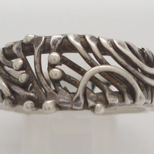 Sterling Modernist Abstract Brutalist Artisan Ring